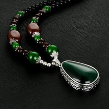 Classic Women Pendant Necklace Retro Green Cat's Eye Stone Drop Necklace Accessories Beads Long Sweater Chain Jewelry Wholesale
