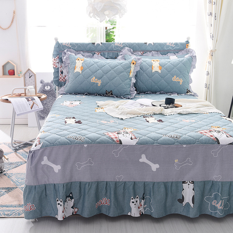 Cotton thick bed skirt twin separated printed mattress cover bedsheet home children mattress protector pad double bed bedspread