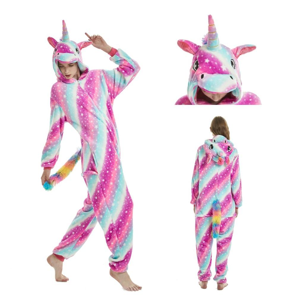 New Adult   Pajamas     Sets   Kigurumi Onesie Anime Women Costumes Cosplay Cartoon Animal Sleepwear Stitch Unicorn Panda Winter Hooded