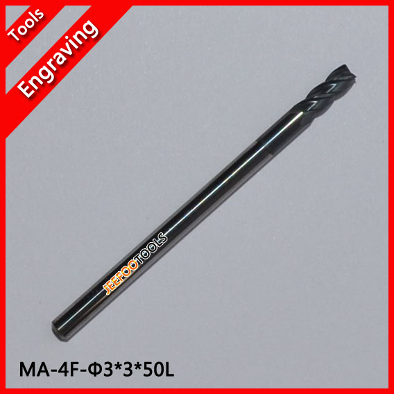 MA-4F-3*3*50L double-edged four-blade tungsten steel milling cutter/metal cutting tools ma 4f 1 5 4 50l two edged four blade tungsten steel milling cutter for glasses lens solid carbide lcd lens engraving bits