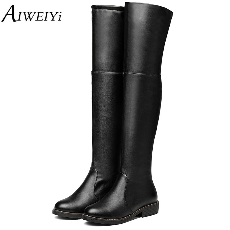AIWEIYi 2018 Square Low Heel Woman Stretch Fabric Over The Knee Boots Women Shoes Bow Tie Ladies Motorcycle Boots Size 34-43