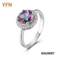 GNJ8887 New 925 Sterling Silver Promise Ring Rainbow Color Cubic Zircon Wedding Band Engagement Ring For