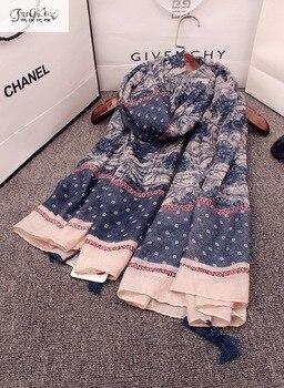 Large cotton and linen retro national wind scarf, beach resort beach sunscreen shawl, dual-use scarf mantillas