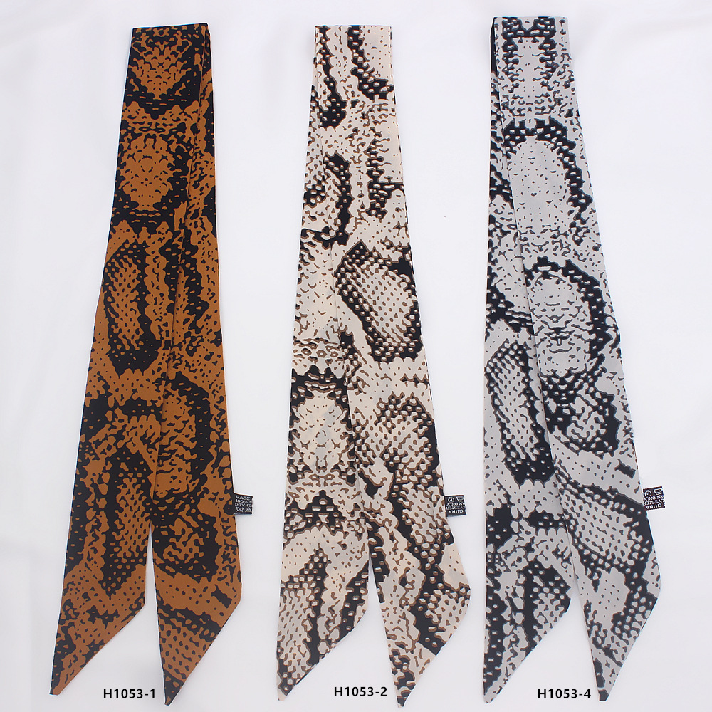 2019 Leopard Snake Skin Print New Bag Skinny Silk Scarf For Women Luxury Foulard Women Tie Fashion Head Scarves For Ladies H1053