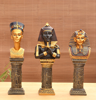Egyptian Pharaohs Head Sculpture Ornaments Tutankhamun Cleopatra Pharaoh King Figure Statue Decoration Home Hotel Bar Display