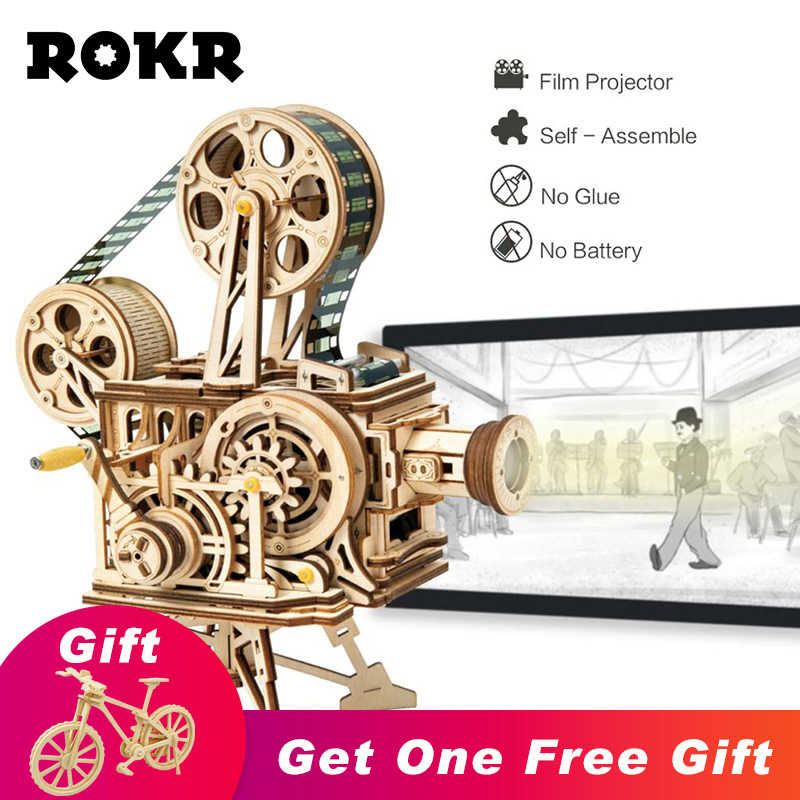 ROKR Hand Crank Projector Classic Film Vitascope 3D Wooden Puzzle Model Building Block Toys for Children Adult LK601