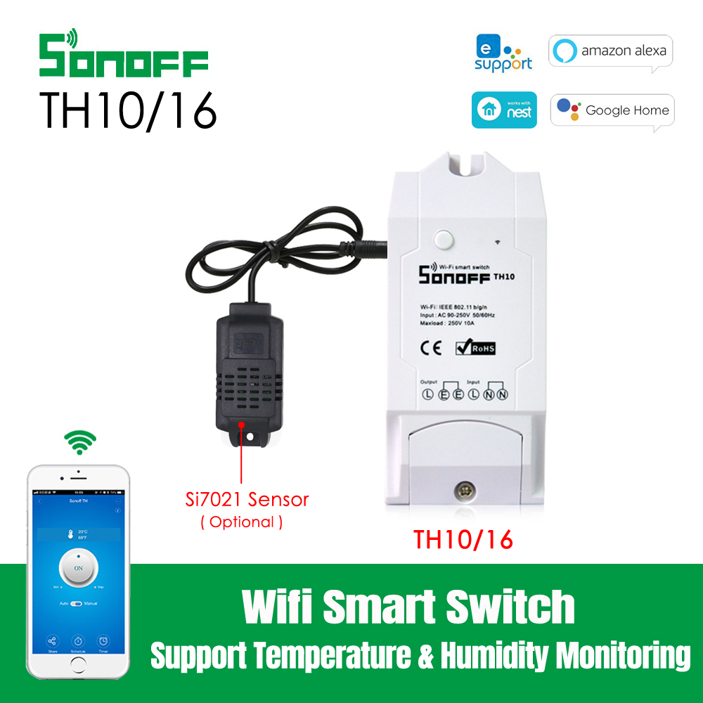 Sonoff TH16 Temperature and Humidity Monitoring WiFi Smart Switch for DIY Smart Home,Compatible with Alexa Works with Google Assistant With SI7021
