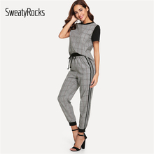 SweatyRocks Contrast Sleeve Plaid Top And Tie Waist Striped Side Pants Active