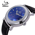 SHENHUA Top Luxury Brand Automatic Mechanical Watches For Men Small Seconds Date PU Leather band Wristwatch Casual Wrist Watch