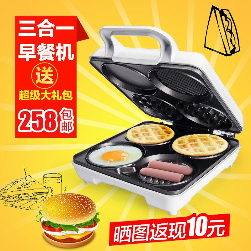 Tedesco Waffle macchina quattro fori elettrico a doppio piatto Fritto Uova colazione cottura pan taverna macchina
