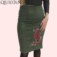 QIUXUAN las mujeres Sexy Hip faldas primavera otoño gamuza Embroiedry lápiz  Bodycon básicos de oficina dama 2046ab608411