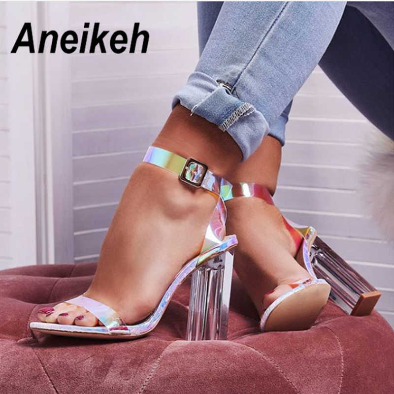 Aneikeh 2019 Novelty PVC Women Sandals Transparent Square High Heels Shoes Women Clear Glass Heel Round Toe PU Silver Size 35-42