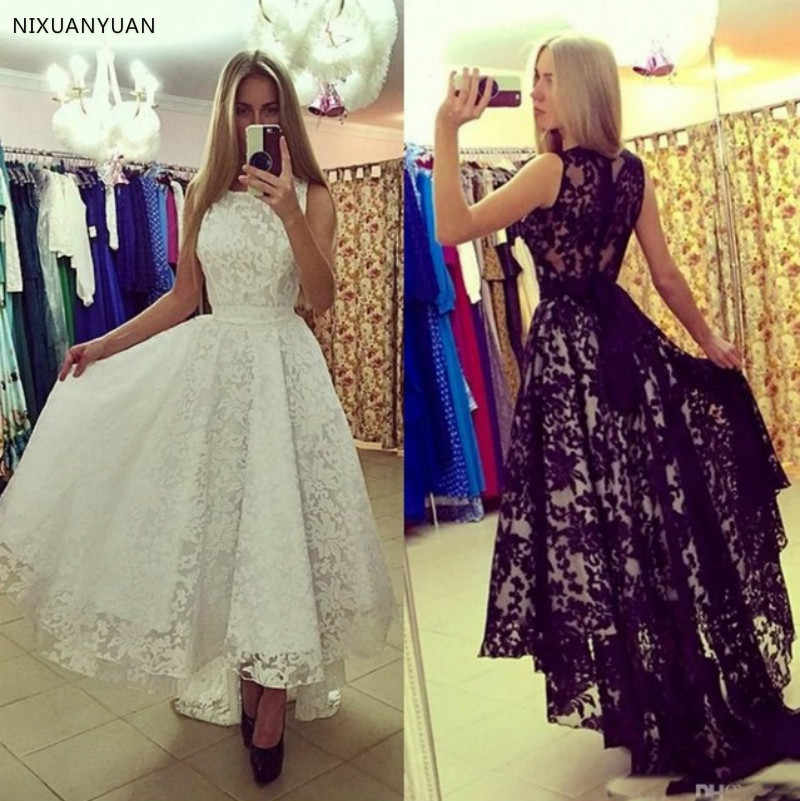 White Black Lace Wedding Dress Short Front Long Back China Bridal Gowns Vestidos De Noiva Vintage Black High Low Wedding Dresses
