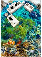 Photo wallpaper 3d Flooring painting Underwater World Tropical Fish 3D Floor Tiles self adhesive floor painting Stickers