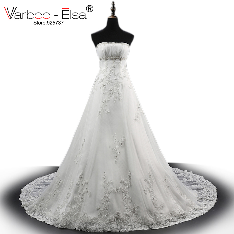 Varboo_els High Quality White Lace Wedding Dresses 2018 Vestido De Noiva Sexy Off Shoulder Long A-line Bridal Dress Custom Made Highly Polished Wedding Dresses