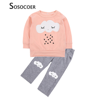 SOSOCOER Baby Girl Clothing Sets Fashion Long Sleeve Eyelash Clouds T Shirt Gray Pants 2pcs Geometry