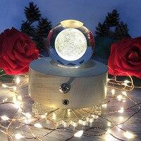 3D Moon Light Rotating Crystal Ball Music Boxes USB Led Lamp Night Light Creative Moose Light Birthday Gift Bedroom Decor Lights