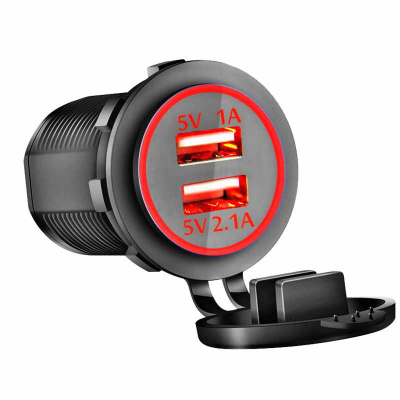 العالمي للدراجات النارية شاحن سيارة مصباح ليد شاحن USB مزدوج مقبس الطاقة 2.1A ضوء السجائر للدراجات النارية السيارات شاحنة ATV قارب