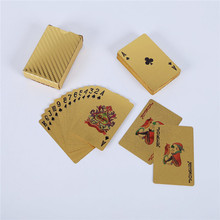2boxes/set Quality 24K Waterproof Gold Foil Poker Playing Cards Durable Poker Creative Gift Table Game Family/Party/Friends P03