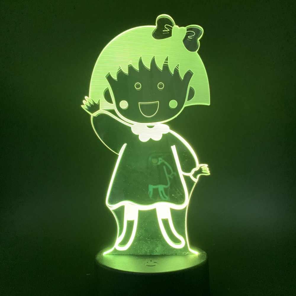 Carino Manga Chibi Maruko Chan Figura Led Luce di Notte di Tocco Interruttore del Sensore di Luce Notturna per I Bambini Camera Da Letto Del Bambino Lampada Da Comodino Lampada Da Tavolo