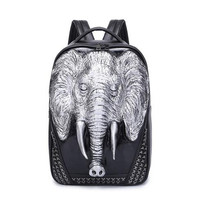 Rivet Innovative 3D Silicone Elephant Shoulder Bag Trend Cool Personality Backpack Street Men's Computer Backpack Free Shipping