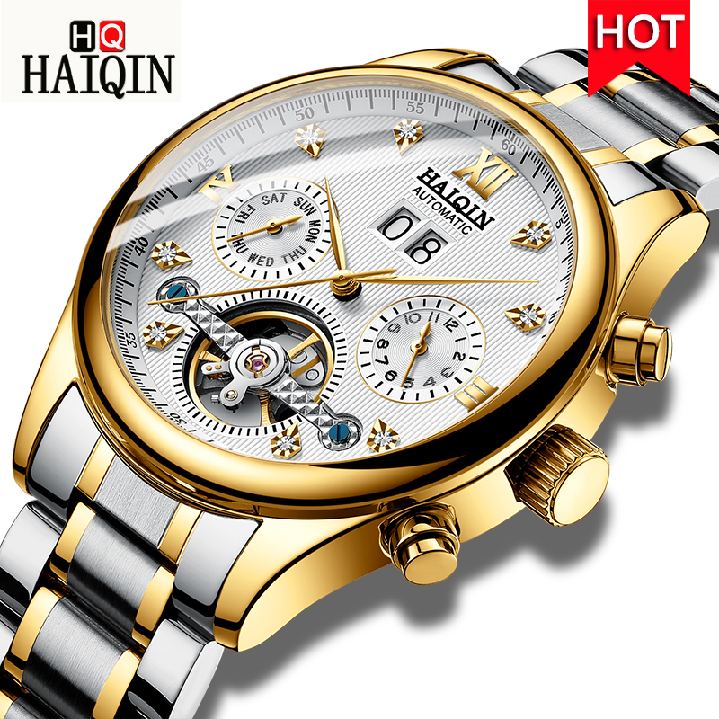 HAIQIN Automatic Mechanical Watch Men Business stainless steel Wristwatch Luxury Watch Waterproof Calendar Clock Relojes Hombre relojes hombre 2018 nibosi dress brand watch men waterproof men s quartz watch business analog wristwatch stainless steel saat