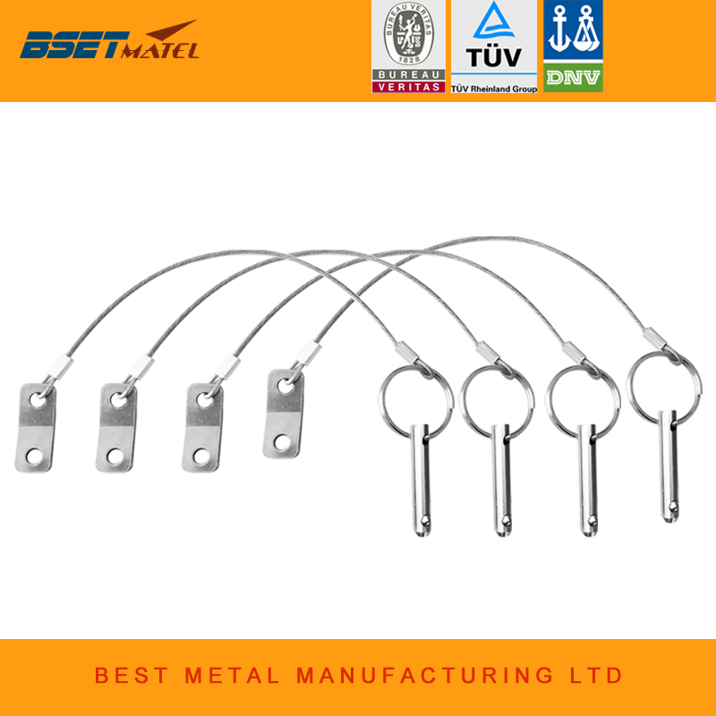 BSET MATEL 4PCS Stainless Steel 316Quick Release Pin with Lanyard for Boat Bimini Top Deck Hinge Marine hardware