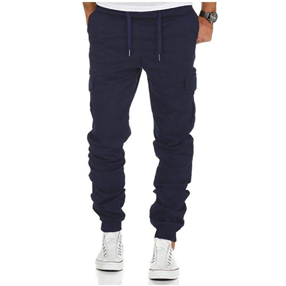 Pantalones de los hombres pantalones harem 2018 pantalones de los hombres sólido multi-Bolsillo pantalones ZXJ16