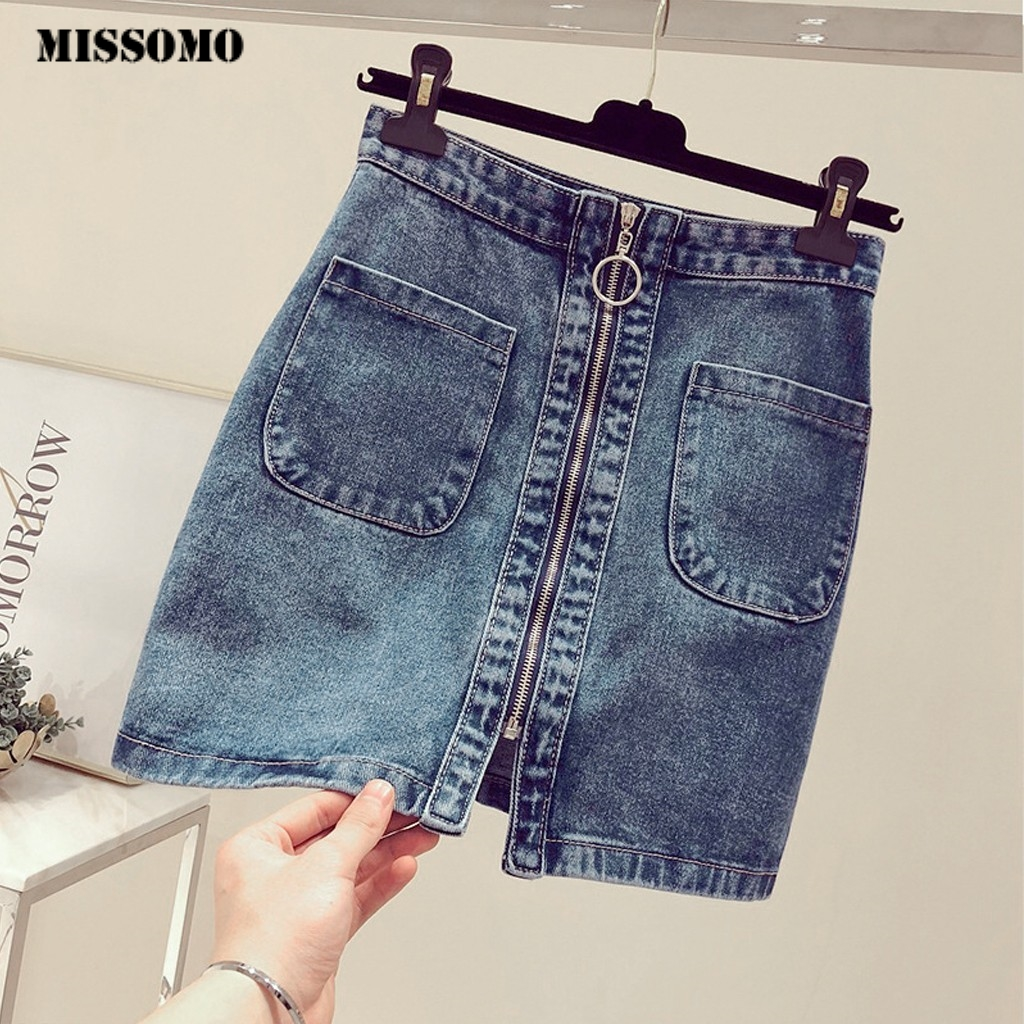 MISSOMO Skirt Women Summer Skirt Korean High Waist Zipper Pocket Student Short Denim Skirt Mini Skirt Jupe Femme Faldas