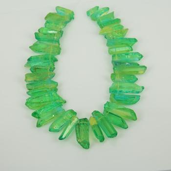 Proszę kliknąć na zielony surowe Clear Rock punkty z kryształu kwarcowego koraliki, Top wiercone szorstki Druzy kamień kwarcowy zawieszki koralik akcesoria modelarskie