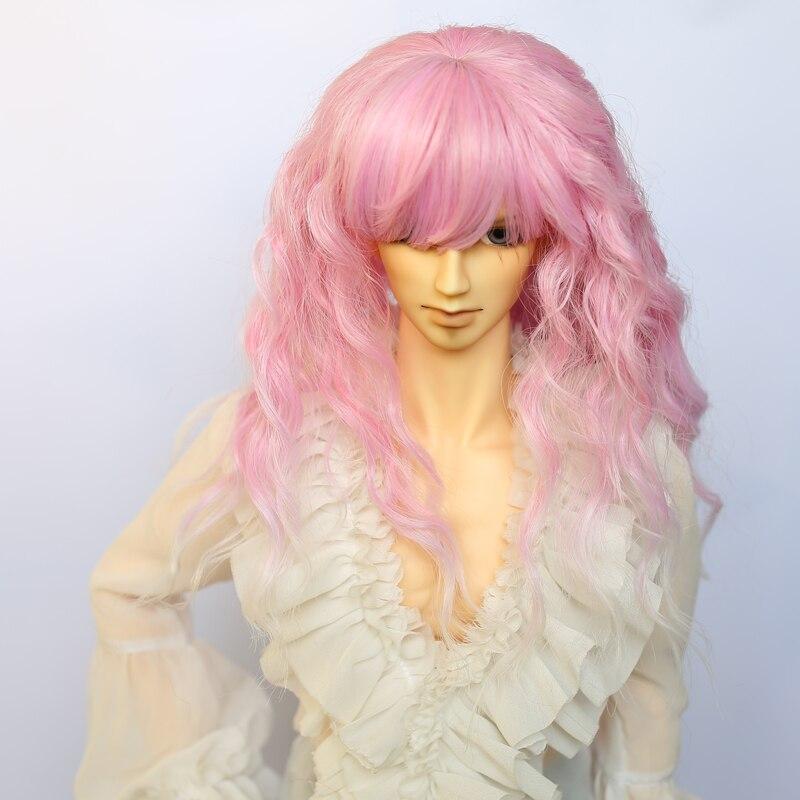 Bellissimo Nuovo Stile Parrucca Bambola Bjd Sd Costume 1/3 Corte Rosa Gradiente Colore Corn Perm Capelli Ricci Profondo Per La Bambola Testa Dimensione 22-24 Cm