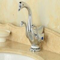 Handel hurtowy I Detaliczny Chrome Brass Łazienka Bateria Umywalkowa Łabędź Stylu Nowoczesne Vanity Sink Mixer Tap Podwójny Uchwyty Deck Mounted