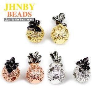 JHNBY Ananas Anhänger Kupfer Spacer perlen Micro Pflastern CZ Metall Fruit Charms Lose perlen für Schmuck armbänder, die DIY Erkenntnisse