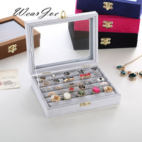 Upscale Velvet Glass Cover Jewelry Storage And Packaging Gift Box With Metal Lock Ring Earring Display