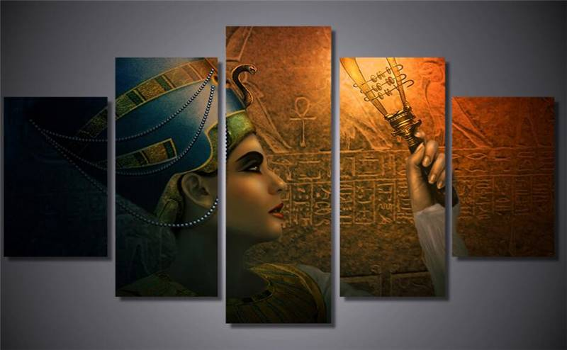 Fashion 5 Piece Egyptian Contemporary Abstract Decorative Oil Painting On Canvas Wall Art Picture For Living Room No Frame