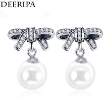 da50ec00f Fashion Wedding Fine Jewelry Silver Color Pandora Earrings Simulated Pearl  Bow-knot Dangle Earrings for Women Gifts