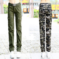 Fall 2017 Winter Women Slim workout Military camouflage cargo pants Army denim overalls Ladies straight Multi-pocket trousers