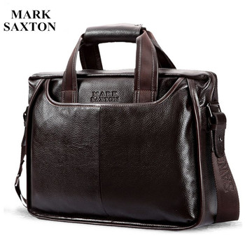Cowhide Male Commercial Briefcase Leather Bag