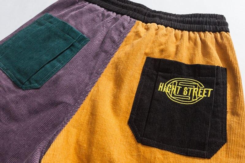 Corduroy Color Block Patchwork Cargo Pants 4