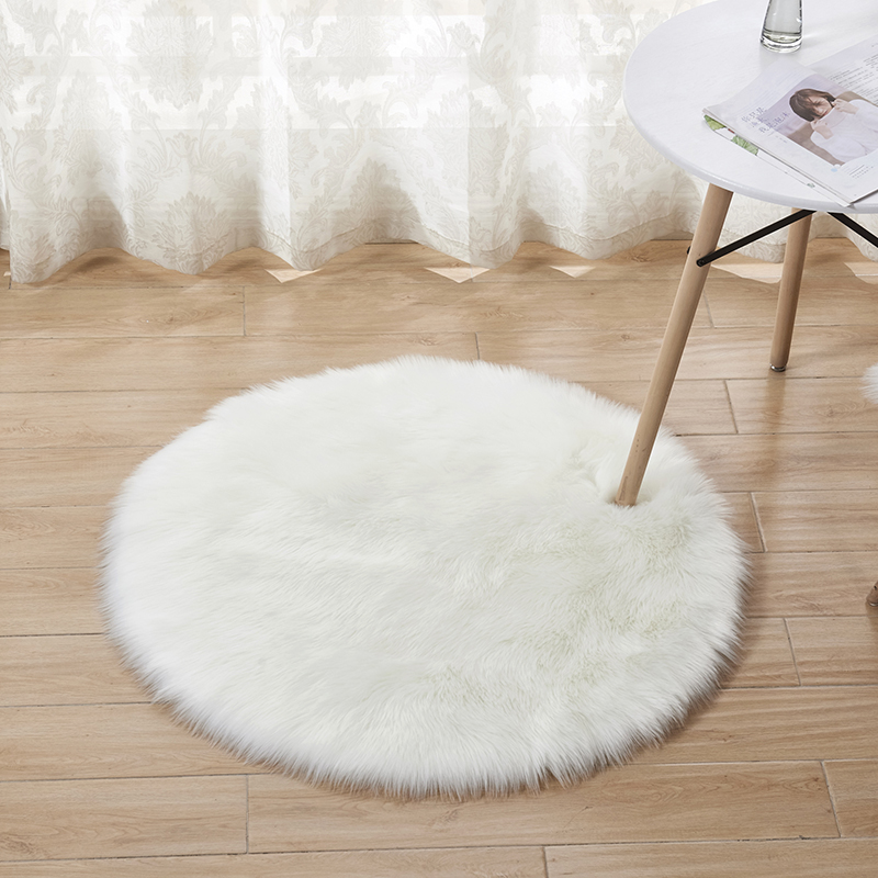 Fluffy Round Rug Carpets Living Room Solid Long Plush Area Carpet Faux Fur Sheepskin Shaggy Rugs For Home Bedroom Decorative