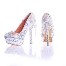2017 Handmade Wedding Shoes White Pearl with Crystal Gorgeous Bridal Shoes Women Party Pumps Platform High Heel Valentine Shoes