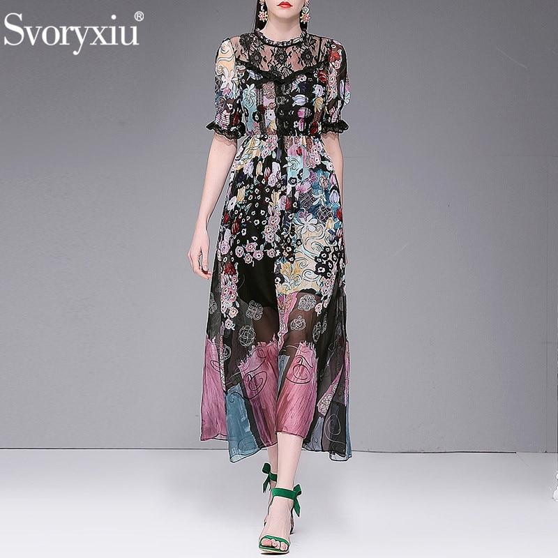 Svoryxiu Vintage Flower Print Beach Vacation Chiffon Lace Maxi Dress Women s Designer Summer Party Long