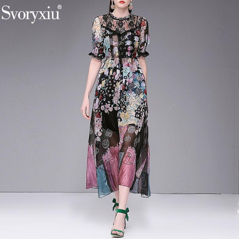 Svoryxiu Vintage 꽃 Print Beach 바캉스 폰 레이스 Maxi Dress Women's 디자이너 Summer Party 긴 Sleeve 긴 드레스-에서드레스부터 여성 의류 의  그룹 1
