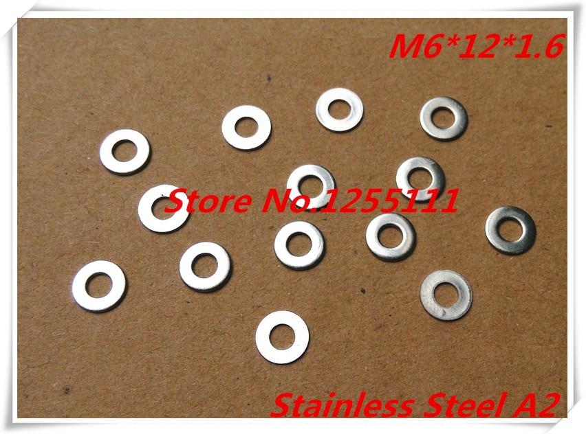 100 unids lote M6 x 12 x 1.6 6 mm acero inoxidable A2 arandela plana  espesor 1.6 mm 71238d86b22