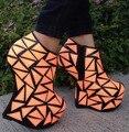 Freeshipping Melhor Senhora Selling Moda Sapatos de Noiva Sapatos de Festa de Casamento Anormal Super Alta Bombas Cunha Tornozelo Botas C074