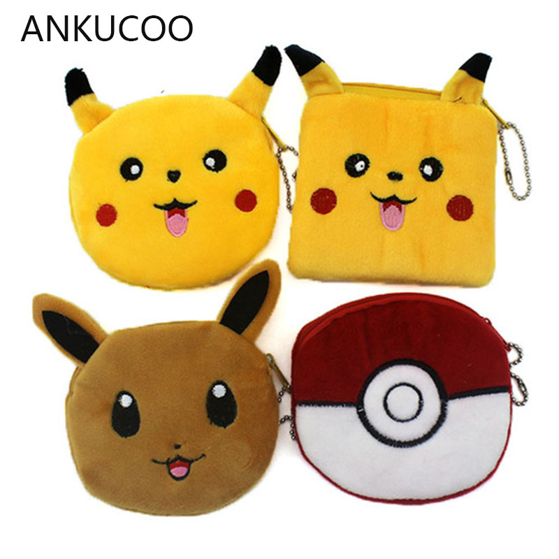 Cartoon Pokemon Pikachu Coin Purse Animals Girls Plush Mini Wallet Change Wallet Women Key Coin Children Kids Gift