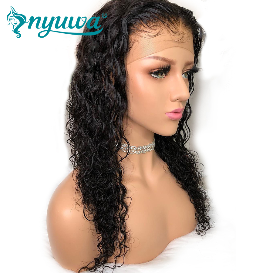 NYUWA Lace Front Human Hair Wigs Pre Plucked With Baby Hair Water Wave Brazilian Lace Front Wig Glueless Remy Hair Natural Color