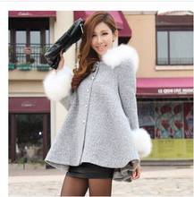 2014 lady fashion rabbit fur hooded woolen cape coat women  winter /autumn fur collar casual clothes jacket outwear S592