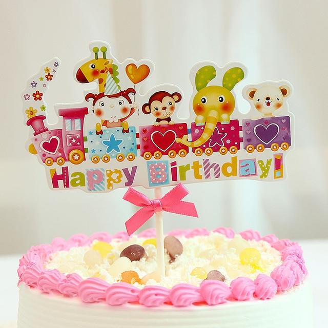 DIY Happy Birthday Rainbow Cake Topper Flags Train With Bowtie Cartoon Animals For Birthday