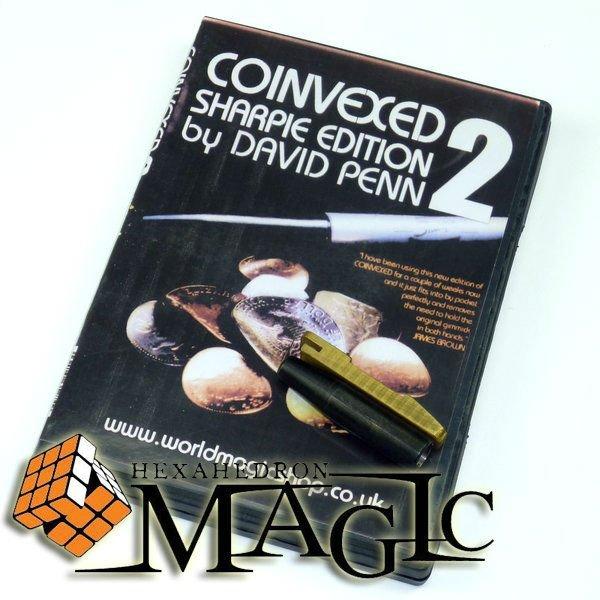 Coinvexed 2.0 Sharpie Édition (avec gimmick et stylo normal) par David Penn/close-up magic card trick/en gros